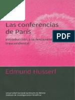 Husserl Edmund Las Conferencias de Paris Introduccion a La Fenomenologia Trascendental
