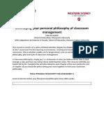 unit 102082 philosophy of classroom management document r 2h2017