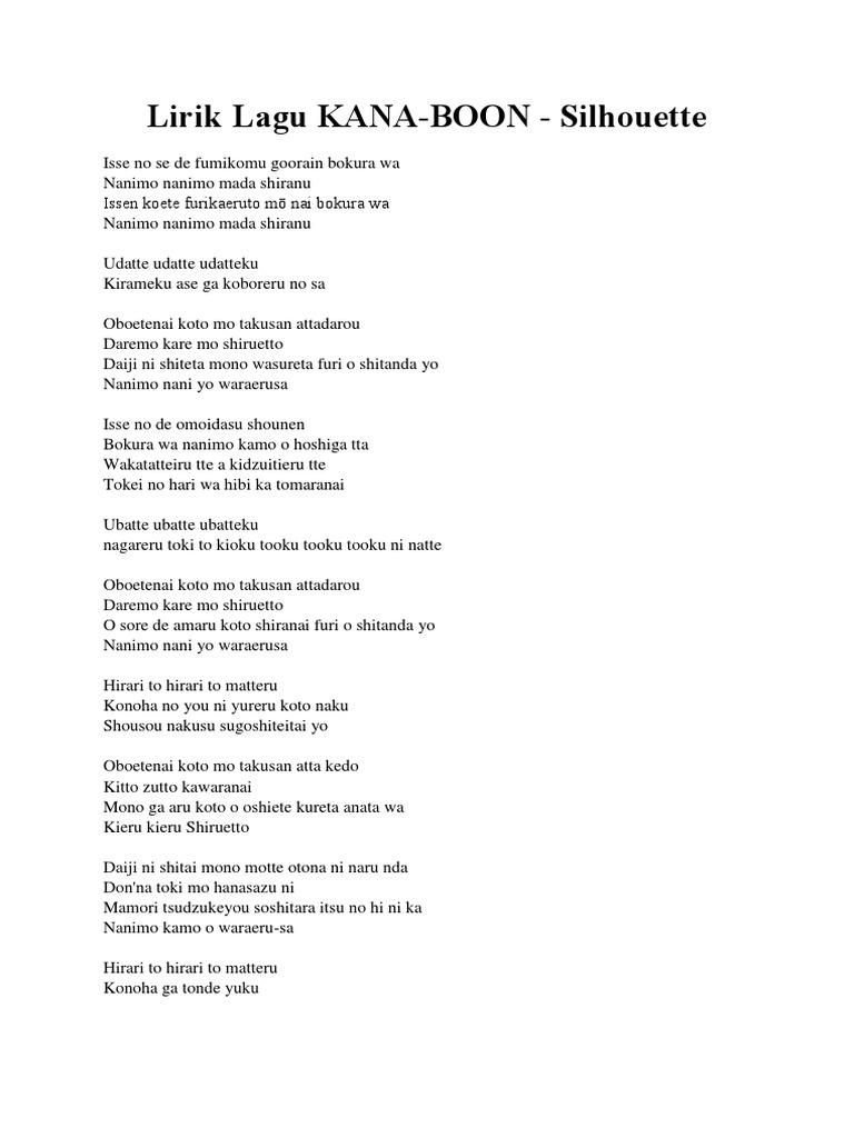 Lirik Lagu Kana Boon Silhouette