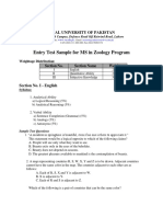 Sample Test for MS Zoology