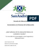De Carli - Qué Sabemos de La Educación Básica en Contextos Rurales. Un Recorrido de Lo Investigado a Nivel Argentino y Latinoamericano