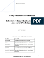 GRP3.10001 Selection of Hazard Evaluation and Risk Assessment Techniques