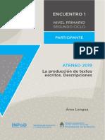 Nivel Primario Ateneo Didáctico Encuentro 1 Segundo Ciclo Lengua Carpeta Participante