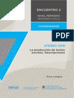 Nivel Primario Ateneo Didáctico Encuentro 2 Segundo Ciclo Lengua Carpeta Coordinador