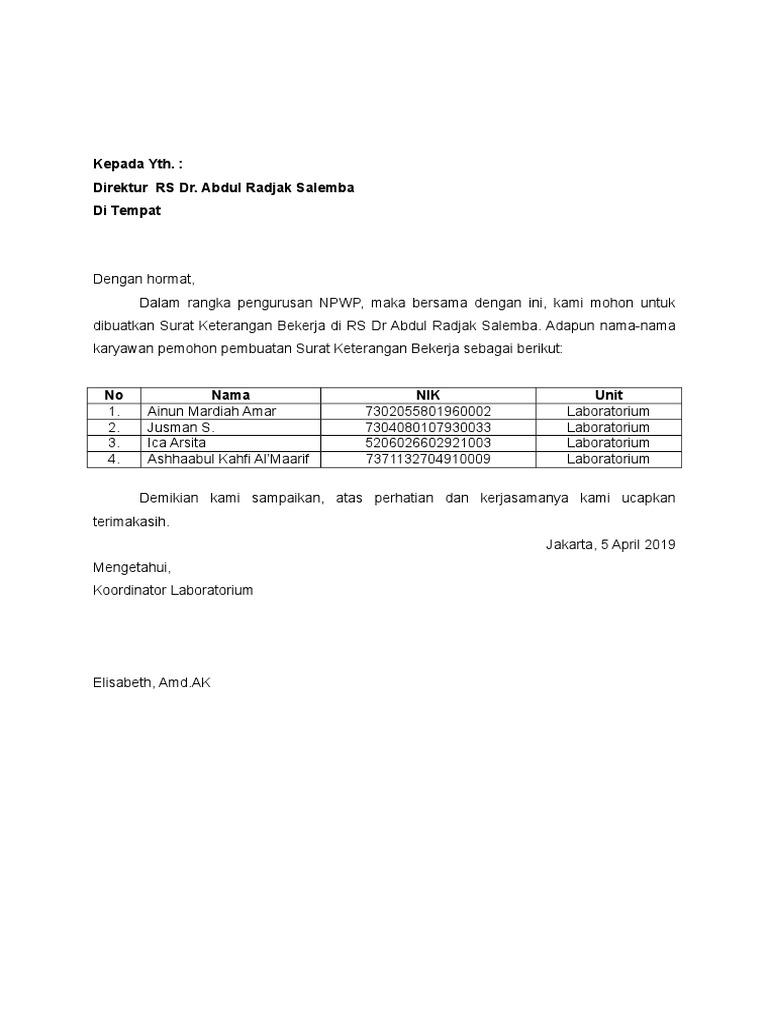 Surat Permohonan Keterangan Bekerja Kepada Direktur Untuk