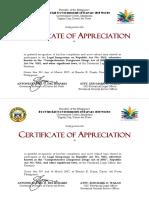 Certificate of Appreciation for PARTICIPANTS
