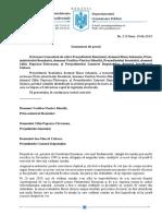 Comunicat de presă referitor la scrisoare transmisă de Iohannis Prim-ministrului României și președinților celor două Camere ale Parlamentului