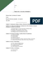 Programa de Historia de La Iglesia Moderna.