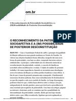 O Reconhecimento Da Paternidade Socioafetiva e a (IM)Possibilidade de Posterior Desconstituição