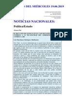 Noticias Del Miércoles 19.06.2019