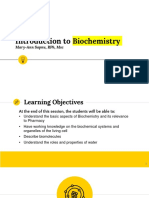 I. Introduction to Biochemistry