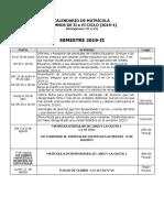 Calendario Matricula 2019-2 Alumnos Que Pasan a III-VI