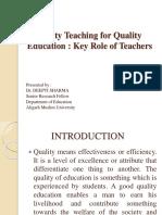 Quality Teaching for Quality Education