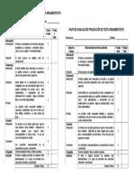 Pauta de Evaluacion Textos Argumentativos