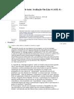 Avaliação on-Line 4 (AOL 4) - Questionário