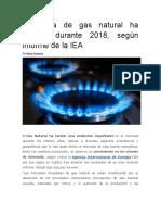 Demanda de Gas Natural Ha Crecido Durante 2018