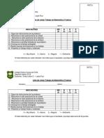 Lista de Cotejo Trabajo de Matematica 2º 2019