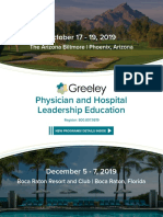 Greeley 2019 Physician and Hospital Leadership Education Brochure