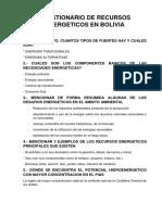 Cuestionario de Recursos Energeticos en Bolivia