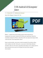 Cara Install OS Android Di Komputer Tanpa