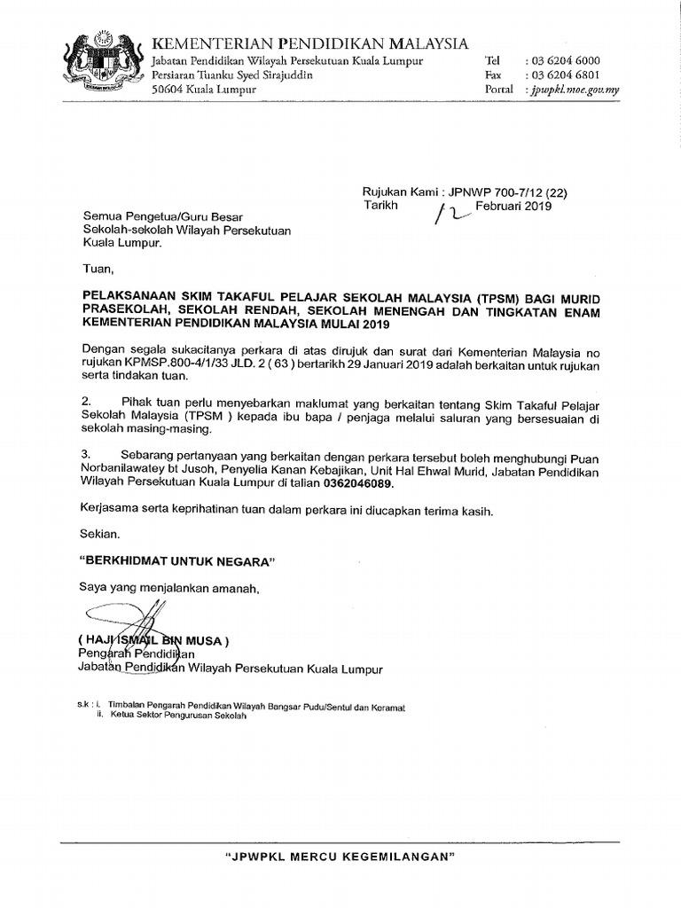 Pelaksanaan Skim Takaful Pelajar Sek Malaysia