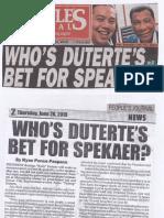 Peoples Journal, June 20, 2019, Who's Duterte's bet for Speaker.pdf