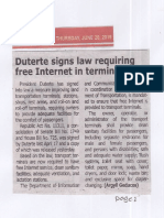 Tempo, June 20, 2019, Duterte signs law requiring free Internet in terminals.pdf