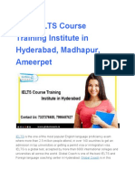 Best IELTS Course Training Institute in Hyderabad, Madhapur, Ameerpet