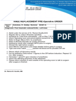 Knee Replacement Pre Operative Order (Word Notes )