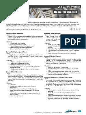 301 Basic Mechanics Course Description pdf | Máquinas | Atrito