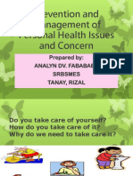 Prevention and Management of Personal Health Issues And