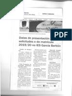 Datas de presentación de solicitudes e matrícula 2019/2020
