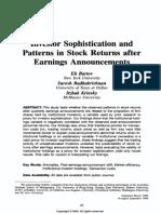 Bartov Et Al ('00) - Investor Sophistication and Patterns in Stock Returns