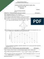 Subiecte Matematica Evaluare Nationala 2019