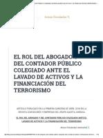 El Rol Del Abogado y Del Contador Público Colegiado Ante El Lavado de Activos y La Financiación Del Terrorismo – Arturo Fernández Ventosilla