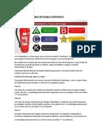 clasificacion de extintores