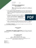 Affidavit of Non - Tenancy STEVE ROGERS
