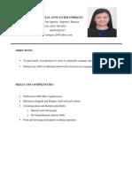 Curriculum Vitae Rachelle Anne Enriquez