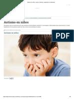 Autismo en Niños, Causas, Síntomas, Diagnóstico y Tratamiento