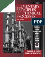 Elementary Principles of Chemical Processes 3rd Update Edition 2005 (Introdução à Engenharia Quimica)