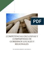 Competencias Exclusivas y Compartidas de Gobiernos Locales y Regionales