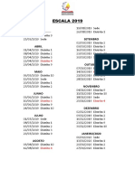 Escala Dos Distritos Para Segunda Feira 2019