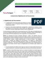 Lineamientos Para Digitalización de Documentos