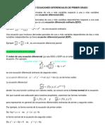 Problemario de Ecuaciones Diferenciales de Primer Grado
