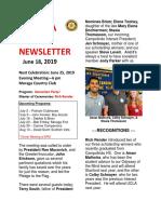 Moraga Rotary Newsletter June 18, 2019