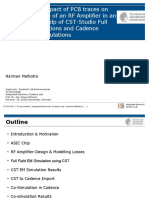 Modeling the Impact of PCB traces on the Performance of an RF Amplifier in an ASIC with the help of CST-Studio Full Field EM Simulations and Cadence Virtuoso Co-Simulations
