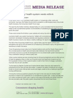 Unfair and Costly Health System Must Change
