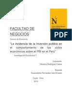 """""""La Incidencia de La Inversión Publica en El Comportamiento de Los Ciclos Económicos Sobre El PBI en El Perú"""""""
