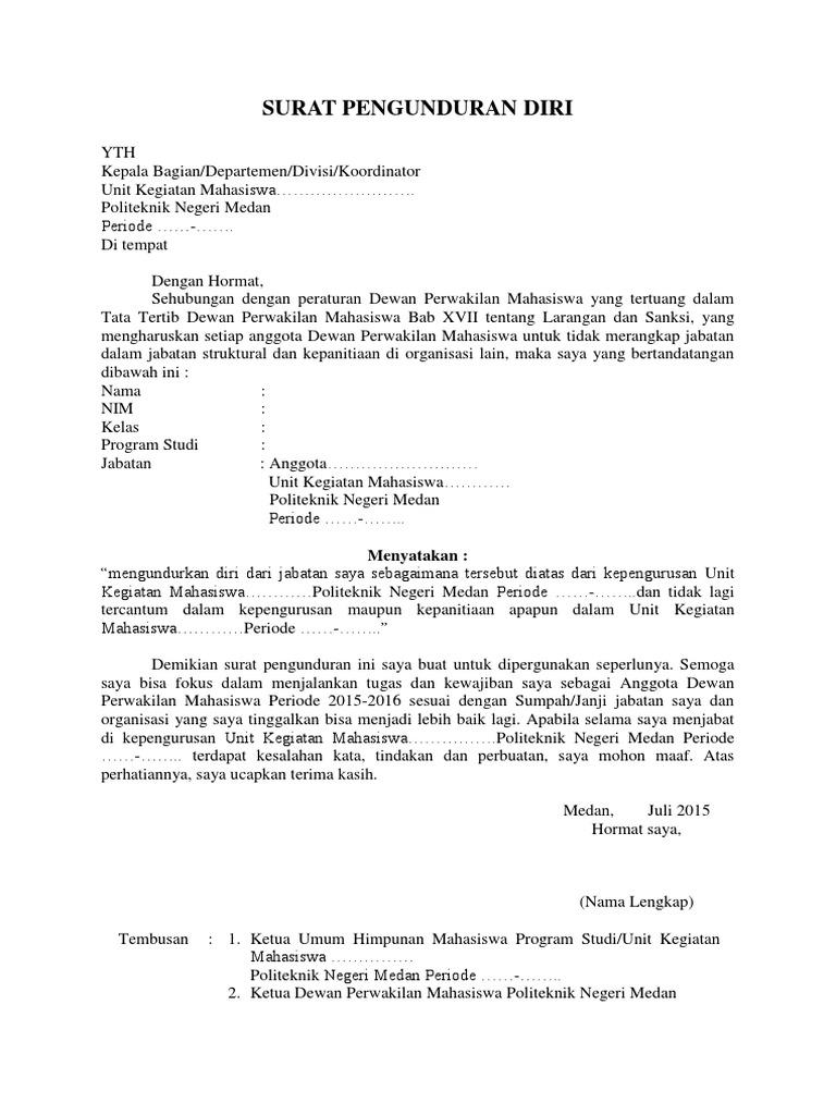 Contoh Surat Pengunduran Diri Dari Jabatan Nusagates