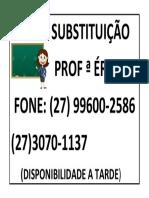 Cartaz de Substituição Profª Erica